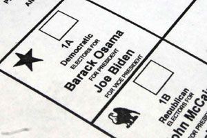 Sen. Barack Obama's name was spelled incorrectly on the Rensselaer County absentee ballot. (Source: Times Union)