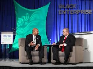 Philadelphia Mayor Michael Nutter discusses small business development with Black Enterprise Editorial Director Alan Hughes. (Source: Lonnie C. Major)