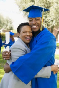 black college student embracing mother