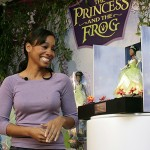 Noni Rose is presented with Princess Tiana doll at the American Toy Fair