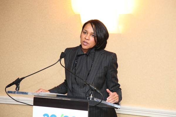 Walmart Executive VP Rosalind Brewer addresses attendees at an evening reception for the B.E. Economic Forum
