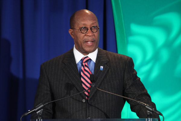 U.S. Trade Representative Ron Kirk addresses the Black Enterprise Economic Forum.
