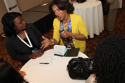 Debra Langford, vice president inclusion and diversity at NBC Universal, offers up some advice during the Power Networking Workshop, hosted by Microsoft.