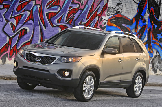 The first U.S.-built Kia and redesigned for 2011 the Kia Sorento boasts a new design with the ability to comfortably fit up to seven passengers, offering more space and ride comfort than the previous-generation model. (Image source: Kia Motors)