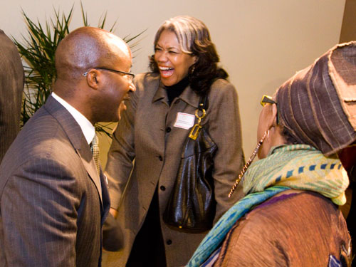 Flowers Communications Group CEO Michelle Flowers-Welch (center) shares a laugh with Edmond and Chicago Urban League Senior Business Consultant E. Dali Pollard.