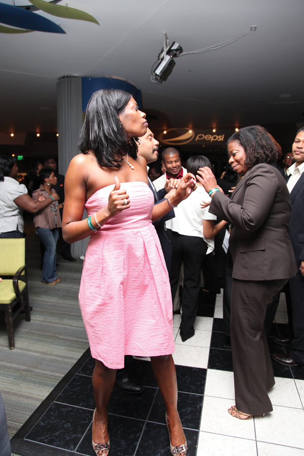Conference attendees get their dance on at the Motown Revue, held at the Seldom Blues Restaurant in Renaissance Center.
