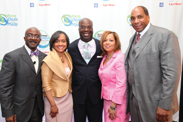 "BlackEnterprise.com Editor-in-Chief Alfred Edmond Jr., Judge Glenda Hatchett, Brilliance Institute Founder Simon Baily, EMC Corp. Senior Diversity Leader Michelle Taylor-Jones and Black Enterprise CEO Earl ""Butch"" Graves Jr."