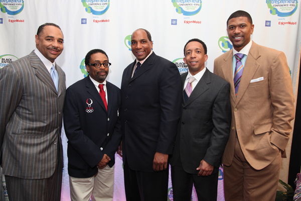"Our World with Black Enterprise Host Ed Gordon, Filmmaker Spike Lee, Black Enterprise CEO Earl ""Butch"" Graves Jr., Ariel Investments Sr. VP Jason Tyler and ESPN Analyst Jalen Rose, winner of the 2009 Black Enterprise Champion Award."
