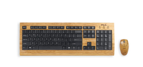 Micro Innovations Luxury Bamboo Keyboard Digital Innovation created this eco-friendly solid bamboo keyboard and mouse. The Bamboo material gives them a natural look and is less harmful to the environment than its non-biodegradable counterparts. The keyboard and mouse can be purchased in the Digital Innovation Website.  Retail: $49.99