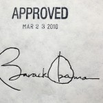 President Barack Obama's signature on the health insurance reform bill at the White House, March 23.  (Source: White House)