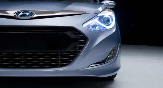 In a plan to create buzz, Hyundai only offered a teaser of the 2011 Hyundai Sonata Hybrid, which makes its debut at the auto show. (Image source: Hyundai)