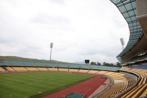 The interior of Royal Bafokeng Stadium in Rustenberg, one of 10 stadiums hosting  the 2010 World Cup games in South Africa.