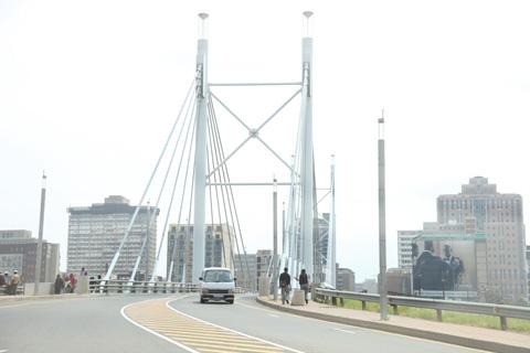 Crossing Nelson Mandela Bridge in Johannesburg.