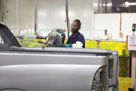Assembly workers at General Motors' manufacturing facilities in Port  Elizabeth.