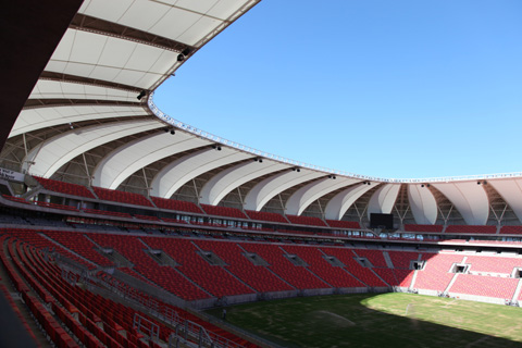 The interior of Nelson Mandela Bay Stadium in Port Elizabeth, one of 10 stadiums  hosting the 2010 World Cup games in South Africa.