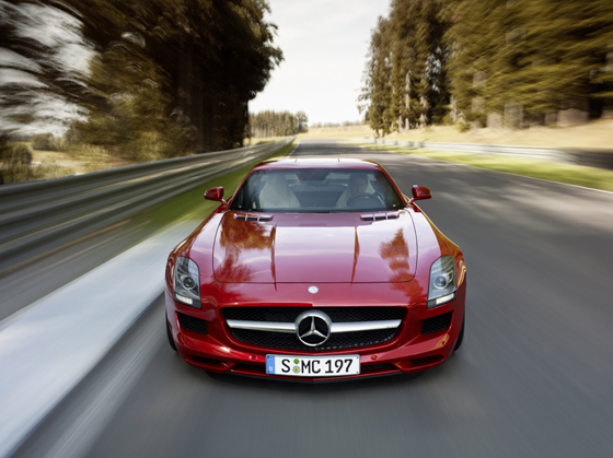 The 2011 Mercedes-Benz SLS AMG is a two-seat coupe with gullwing doors and will go on sale in May with an MSRP of $183,000. The AMG SLS has a V8 engine with a top power of 571 horsepower. (Image source: Mercedes-Benz)