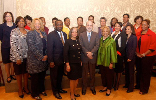 Chairman of the Federal Reserve Ben Bernanke  (center) served as keynote speaker and host to The Executive Leadership  Council's Seventh Annual Black Women's Leadership Summit in Washington, D.C. He discussed plans for the  American economy. (Source: Kerry-Ann Hamilton)