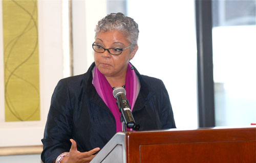 Dr. Freda Lewis-Hall, chief medical officer for  Pfizer, moderated a dynamic panel on Black Women's Health and the issues  surrounding trusting the science. (Source: Kerry-Ann Hamilton)