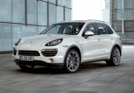 The next generation Cayenne S Hybrid is Porsche's first production hybrid. The luxury SUV's electric motor and its V6 combustion engine are connected to each another by a decoupling clutch, which allows the car to be driven either by the electric motor or the combustion engine alone, or by both drive units together. With its combined power output of 380 horsepower, the hybrid has the performance of a V8 with the economy of a V6. The Cayenne S Hybrid can cover short distances on electric power alone, free of emissions and noise up to 60 km/h or almost 40 mph. It is 1.9 inches longer than its predecessor, and has an added 1.6 inches in wheelbase. Both pricing and the SUV's EPA-rated mpg are still to be determined. The Cayenne S Hybrid goes on sale this fall. (Image source: Porsche)