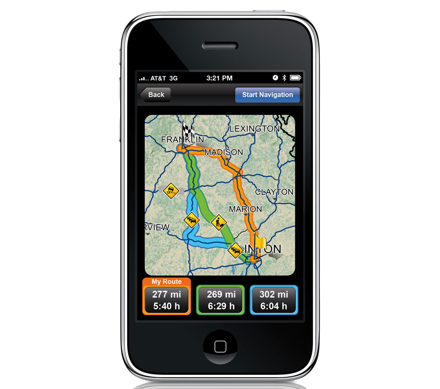 "Navigon has set the bar really high with its MobileNavigator for the iPhone ($79.99, App Store). Of special note is Reality Pro view, which lets you see realistic displays of freeway exchanges, single-click ""take-me-home"" function, and the ability to broadcast location and ETA via Facebook and Twitter. Mobile Navigator is also compatible with the iPod touch and iPad."