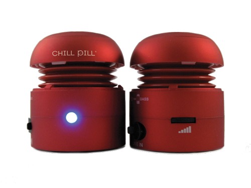 Chill Pill's Mobile Speakers ($49.99); let you have big fun along the way. The speakers pack a powerful sound in a tiny, portable 2- by-4-inch form. Retractable USB cables (included) mean they won't get tangled—and you can use the cables to charge your iPod and iPhone from the speakers. Chill Pill's Rapcap Mini Microphone ($14.99) for the iPod lets you capture and save in WAV format for easy playback.