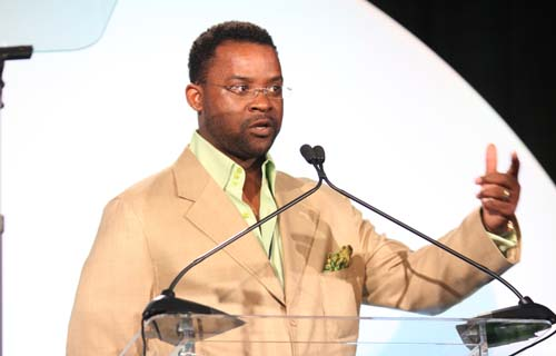 Timothy Jackson tells luncheon attendees that he and co-founder Kendrick were inspired to set winning a Black Enterprise Small Business Award as a goal while attending the 2008 Entrepreneurs Conference in Charlotte, N.C.