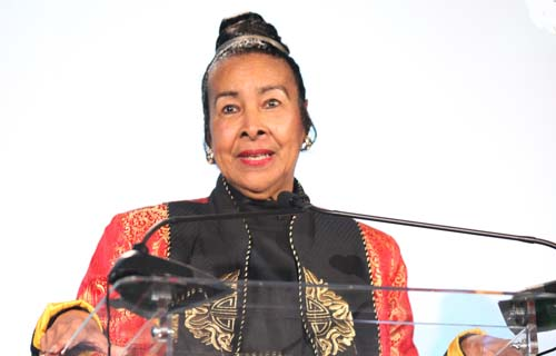 Trumpet Awards Foundation Founder Xernona Clayton delivers remarks after accepting the Black Enterprise Community Champion Award. A prestigious annual event highlighting African American achievements and contributions, The Trumpet Awards has been televised and distributed internationally to over 185 countries since 1993.