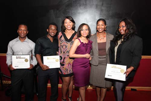 Jamail Larkins, Darnell Henderson, Black Enterprise Marketing Manager Monique Myles, Tennille Robinson, Keisha Taylor and Natasha Eubanks.