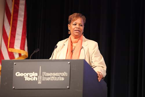 Georgia Minority Business Enterprise Center Director Donna Ennis, named one of Atlanta's Top 100 Black Women of Influence by the Atlanta Business League, greets forum attendees on behalf of the Georgia Tech.