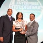 Crumbs by Gabrielle is presented with the 2010 Black Enterprise Teenpreneur Award. (L-R) Black Enterprise CEO Earl Graves Jr., Crumbs by Gabrielle CEO Gabrielle McBay, Wendy's International Restaurant Franchisee Steve Taylor.