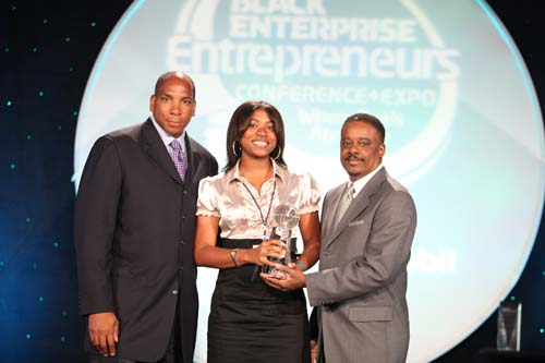 Crumbs by Gabrielle is presented with the 2010 Black Enterprise Teenpreneur Award. (L-R) Black Enterprise CEO Earl Graves Jr., Crumbs by Gabrielle CEO Gabrielle McBay, Wendy's International Restaurant Franchisee Steve Taylor.