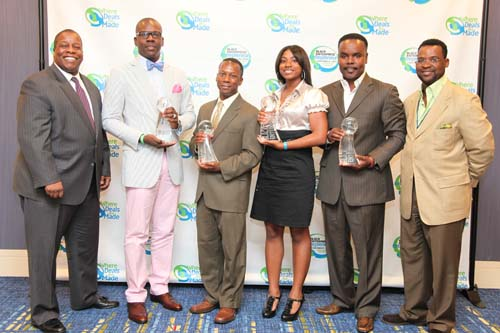 One of the most highly anticipated events at the 15th Annual Black Enterprise Entrepreneurs Conference + Expo, hosted by ExxonMobil at the Atlanta Marriott Marquis, was the 2010 Black Enterprise Small Business Awards Luncheon hosted by Ariel Investments. The Small Business Awards recognizes outstanding entrepreneurs in four award categories: Teenpreneur (ages 19 or younger), BE Next (ages 21-35), Innovator of the Year and Small Business of the Year. Above, Black Enterprise Magazine Editor-in-Chief Derek T. Dingle poses with 2010 award winners Amos Winbush III of CyberSynchs L.L.C., Jamail Larkins of Ascension Aircraft, Gabrielle McBay of Crumbs by Gabrielle, and Frank Kendrick and Timothy Jackson of NuJak Cos. (All Photos by Lonnie C. Major)