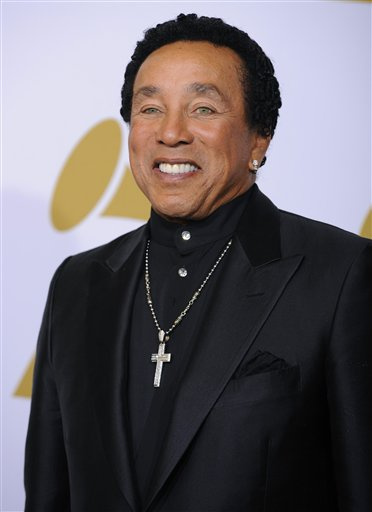 FILE - In this Jan. 31, 2010 file photo, singer Smokey Robinson is photographed backstage at the Grammy Awards in Los Angeles. (AP Photo/Mark J. Terrill, file)