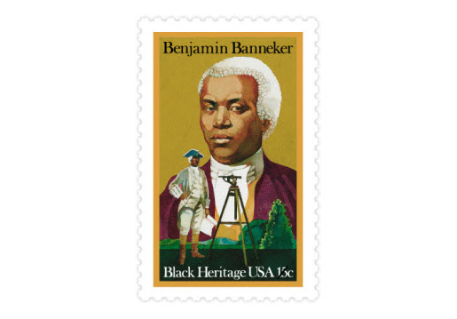 Benjamin Banneker was an accomplished astronomer, mathematician, surveyor, almanac author, and farmer. From 1792 to 1797, Banneker published his astronomical calculations in almanacs. (Date issued: Feb. 15, 1980)