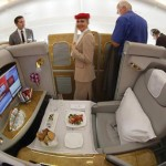"""Favorite first-class service Emirates A380. """"They have shower spas, an onboard lounge, and the in-flight entertainment system has 1,200 channels on demand. It's expensive but worth it."""""""