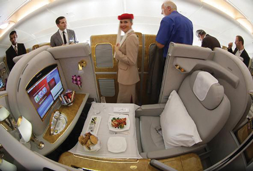 "Favorite first-class service Emirates A380. ""They have shower spas, an onboard lounge, and the in-flight entertainment system has 1,200 channels on demand. It's expensive but worth it."""