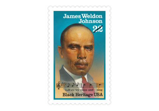 """James Weldon Johnson was an author, lyricist, lawyer, diplomat, educator, and civil rights worker. He and his brother composed """"Lift Ev'ry Voice and Sing"""" for Abraham Lincoln's birthday celebration in 1900. (Date issued: Feb. 2, 1988)"""