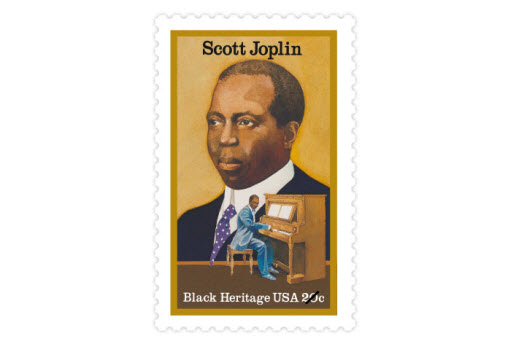 "The ""King of Ragtime,"" Scott Joplin was a composer and pianist famous for his unique compositions. His pieces include the ""Maple Leaf Rag"" and The Entertainer. (Date issued: June 9, 1983)"