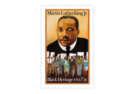 "The second stamp in the 33-stamp series was of Rev. Martin Luther King Jr., who is often remembered for his ""I Have a Dream"" speech, delivered at the 1963 March on Washington. He was assassinated in 1968. (Date issued: Jan. 13, 1979)"