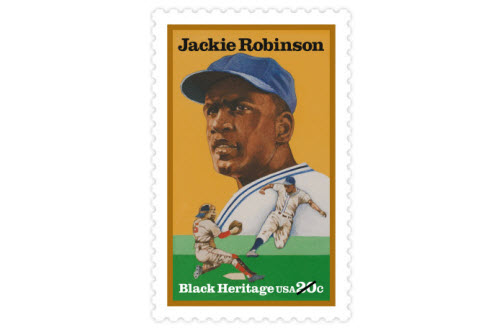Jackie Robinson broke the color barrier in Major League Baseball in 1947, when he joined the Brooklyn Dodgers. He was inducted into the Baseball Hall of Fame in 1962. (Date issued: Aug. 2, 1982)