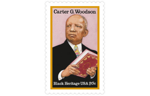 """Born in 1875 to ex-slaves, Carter G. Woodson overcame economic and social barriers to become a leading black history scholar. He earned a doctorate from Harvard University and founded the """"Journal of Negro History,"""" serving as its editor for 35 years. (Date issued: Feb. 1, 1984)"""