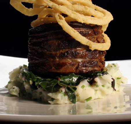 I strongly recommend this entree: maple syrup slow-braised beef short rib with crispy onion rings and buttermilk chive mashed potatoes. After I ate it, I actually asked White to tell her husband to come out of the kitchen so I could slap him. So you know it was good. Lawrence did come out, but I didn't actually slap him.