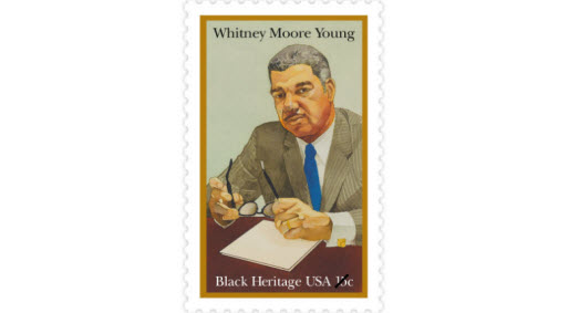 Whitney Moore Young Jr., was a civil rights leader who worked to end employment discrimination. In 1961, Young became the director of the National Urban League, and in 1969, President Johnson awarded him the Presidential Medal of Freedom. (Date issued: Jan. 30, 1981)