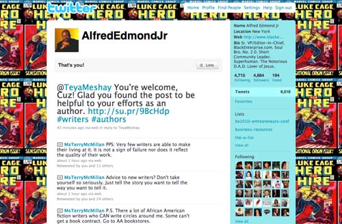 By far, my favorite social media site is Twitter. (Follow me at www.Twitter.com/AlfredEdmondJr.) I especially love tweeting from my phone. I use Twitter to find story ideas, expert sources and subjects for stories for BlackEnterprise.com, Black Enterprise magazine, and even our television shows, Our World with Black Enterprise and the Black Enterprise Business Report. I also use it to communicate with the speakers and attendees I connect with each year at the Black Enterprise Entrepreneurs Conference. I've learned to feed content from BlackEnterprise.com directly to my profile on Twitter, using the capabilities of other social media sites such as Networked Blogs and StumbleUpon's Su.Pr. It's also cool to see our tweets picked up by other sites, such as MuckRack, which shares the tweets of journalists on Twitter. But what I love best about Twitter is the ability to get insights from and about the audience Black Enterprise exists to serve in real time—and have a ball while doing it. I'm not addicted to Twitter. I can quit any time I want to. (I just don't want to.)