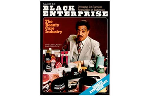 In the August 1978 issue, BLACK ENTERPRISE publishes a feature on the haircare and cosmetics industry. With more than 32% of the $120 million black haircare market, Johnson Products is one of the industry's most dominant players. On the strength of Afro Sheen, the company's sales grew from $13 million in 1971 to $41 million in 1978, making it the country's fourth largest black-owned business. (Image: George Johnson on cover of Black Enterprise, August 1978)