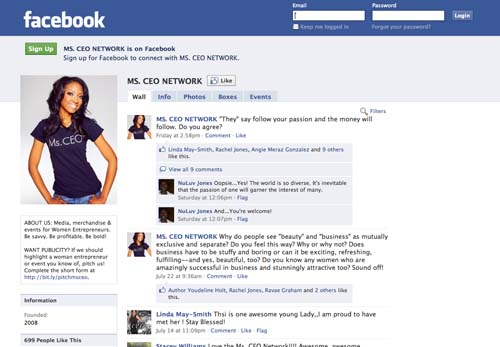 """Facebook (www.facebook.com/msceo) + (www.facebook.com/feliciajoy2theworld): I have a personal Facebook account but I use it more for business.  My company, Ms. CEO Incorporated, uses our Facebook """"Fan"""" Page (now a """"Like"""" page) to show photos and video of our behind-the-scenes work.  We also use it to post questions for feedback.  Our Facebook page will be getting a makeover during the next couple months and in 2011 we're going to post to Facebook a lot more and launch interactive contests and forums on it as well.  We really saw the potential power of both Facebook and Twitter when we merged our online world with our face-to-face interactions during an event we held in June 2010, called """"Shop, Show & Tell - A Shopping Expo with a Twist"""".  This is an expo we created to help small business owners boost sales during the typically lagging summer months and to help consumers find great products at affordable prices."""