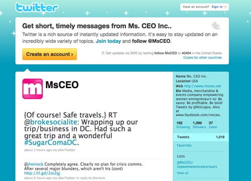 """Twitter (www.twitter.com/msceo): If a topic is really compelling or relates to something I am already working on I e-mail the tweet to myself for further review later.  In my Gmail account I have set up a filter so that whenever I send those e-mails to myself they all compile in the same folder.  It doesn't junk up my Inbox and I can easily find all of them later.  I like tweeting best from my laptop when I can use TweetDeck; it's a better utility than the app I use on my BlackBerry but they both work great.  I generally stay """"on topic"""" on my Twitter accounts because I know that's why people are following but I will also include tweets and links related to personal interests every now and then.  Sidebar: I have decided (only in my head so far) that I am going to become a triathlete.  I started following a few """"triathlon"""" related Tweet streams, but without much success so far.  I wish more people would take the time to understand and use Twitter.  We'd all be smarter and better."""
