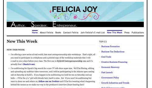 Wordpress (www.feliciajoy.biz): I am an entrepreneur but my education and background are in communications so blogging is a natural fit for me.  I don't get to do it as often as I would like but I maintain an active website/blog on Wordpress.  I like the immediate feedback you can get from comments.  I also like the analytics.  When people take the time to comment--or you see a particular article spike in views and get tweeted--then you know you've tapped an area of greater interest. Since I generate revenues from writing, this immediate feedback from my blog gives me clues as to which pay-per-download documents or books I should write next.