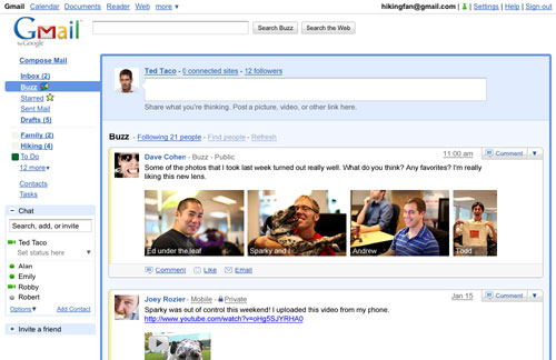 It's Google's attempt to make its mark in the world of social networks: Part of Gmail, Buzz allows users to keep up with their friends (other Gmail account holders) by the second. You can comment, post links and images, and share information with other Buzz users. While there is no Facebook integration, users can import information from Twitter, Picassa, Flickr and other sites.