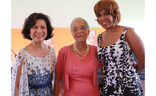 "Loida Lewis (l), widow of the late Reggie Lewis and chair of the Reginald L. Lewis Foundation, with Carolyn Fugett, Lewis' mother; and Gayle King, editor-at-large for O Magazine. ""The Reginald F. Lewis Foundation is pleased to recognize the hard work of Londell McMillan and Tina Wells, and the wonderful contributions of Peter [Offermann], Phyllis [Schless], and Robert [Winters, Jr.] to the story and legacy of my husband,"" said Loida Lewis. ""Perseverance and dedication, especially in entrepreneurship, normally pay off in individual success and community development and help society in general. We are happy for their success and grateful for their help with the Foundation."" Offerman, Schless and Winters received the Millennium Member award from the Foundation."